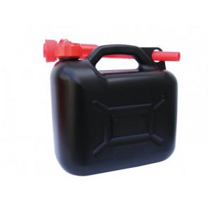 Benzinkanister 5 Liter - UN-geprüft 400 gramm schwarz/rot mit Ausgießer