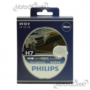 Philips H7 Racing Vision 12V 55W 1x Duo Pack (2 Glühbirnen) +150% Licht